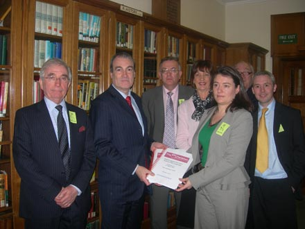 Dr Stephen Ladyman receiving a copy of the petition.